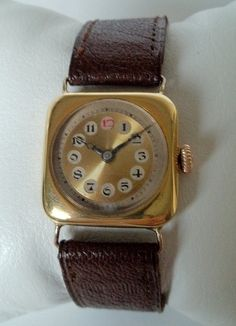 Gorgeous circa 1917 gold plated vintage manual wind mens Swiss trench watch via Etsy.