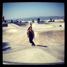Only girl at the skate park in Venice (LA). You go girl!