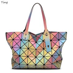 2016 issey Summer miyake rainbow geometry plaid Top-handle bags baobao  luxury brand ladies hand b736c8116d