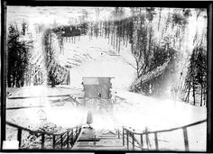 View from top of ski jump and spectator areas at the Norge Ski Club in Cary, Illinois, 1912.  SDN-009671, Chicago Daily News negatives collection #chicago #history #winterinchicago
