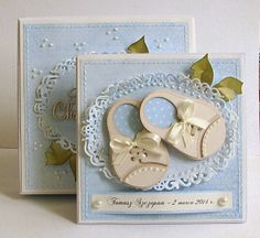 Dorota_mk: easterly and the announcement news :) Baby Boy Cards, New Baby Cards, Baby Shower Cards, New Born Baby Card, Baby Girl Invitations, Baby Birthday Card, Cardmaking And Papercraft, Marianne Design, Baby Scrapbook