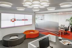 MassMedia – Casablanca Offices office design for media agency MassMedia located in Casablanca, Morocco. Waiting Area, Video Wall, Wall Installation, Identity Design, Workplace, Design Projects, Light Fixtures, Interior Design, Offices