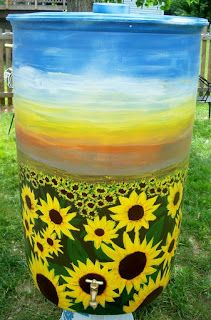Kindred Spirits Sisters: Collecting Rainwater with Rain Barrels Propane Tank Art, Painted Trash Cans, Water From Air, Water Barrel, Lawn Sprinklers, Water Collection, Rainwater Harvesting, Natural Garden, Art Plastique