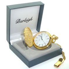 Burleigh Gold Finish Pocket Watch in Gift Box - Engraved Wedding Gifts, Wedding Gifts For Bride And Groom, Engraved Gifts, Bride Gifts, Personalized Gifts, Groom Gifts, Mens Watches Uk, Mens Digital Watches, Usher Gifts