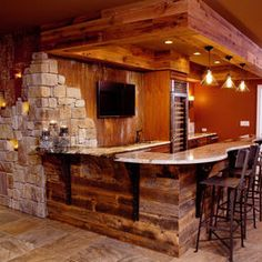 New Pictures Of Basement Bars In the Home