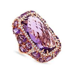 0.56ct Diamond & 20.84ct Amethyst & Purple Sapphire 14k Rose Gold Ring, Women's, Size: 8.25