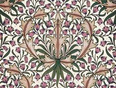 William Morris Tile: Harebells, rose-peach, 8x6 inch border tiles