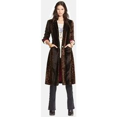 Pre-owned Free People Leopard Print Faux Pony Hair Overcoat Fur Coat ($149) ❤ liked on Polyvore featuring outerwear, coats, pony hair coat, pattern coat, leopard fur coat, fur coat and over coat