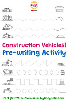 Free pre-writing activity - with construction vehicles! Pre Writing Practice, Writing Practice Worksheets, Preschool Worksheets, Teach Preschool, Preschool Ideas, Writing Activities For Preschoolers, Toddler Learning Activities, Kindergarten Writing, Motor Activities