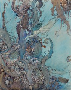 """Edmund Dulac - """"At the mere sight of the bright liquid ...  they drew back in terror."""" Ilustration from """"The Mermaid"""" 1911"""