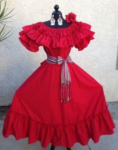 MEXICAN FIESTA,5 DE MAYO,WEDDING RED/RED DRESS OFF SHOULDER 2PC W/MEDIUM SASH