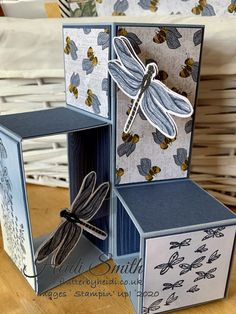 Card Making Templates, Card Making Tutorials, Fancy Fold Cards, Folded Cards, Pop Cubes, Bridge Card, Pop Up Box Cards, Stamping Up, Dragonflies