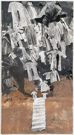 ANSELM KIEFER  Jakobs Traum 2004 Paint, shellac, and charcoal on cut, torn, and pasted photographs 107 x 58 cm