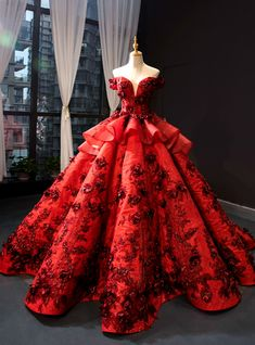 Burgundy Ball Gown Sequins Off the Shoulder Flower Haute Couture Prom Dress Red Ball Gowns, Ball Gowns Prom, Ball Gown Dresses, 15 Dresses, Elegant Dresses, Pretty Dresses, Ball Gowns Evening, Robes Disney, Senior Prom Dresses