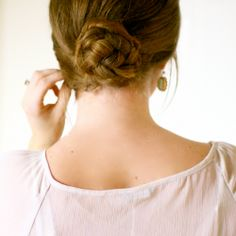 Cure a bad hair day in last than 5-minutes and still look chic with a super simple braided updo.