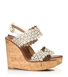Tory Burch Floral Perforated Wedge Sandal I so need to have these!!!
