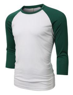37b2d94201b LE3NO PREMIUM Mens Loose Fit 3 4 Sleeve Crew Neck Jersey Baseball Shirt  (CLEARANCE