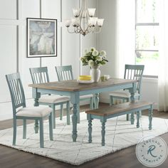 Blue Dining Tables, Painted Dining Room Table, Dining Room Blue, Dining Table In Kitchen, Dining Room Furniture, Beach Dining Room, Dining Room Sets, Dining Table Settings, Coastal Dining Rooms