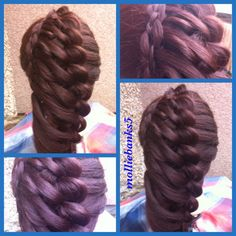 Dutch braid feathered with four strand braid