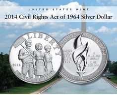 2014 Civil Rights Act of 1964 Proof Silver Dollar