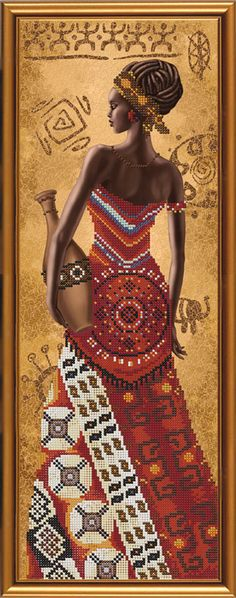 New Bead Embroidery Kit African with a Jug by Nova Sloboda Manufacture African American Art, African Women, African Fashion, African Artwork, African Art Paintings, Style Africain, Art Africain, Black Women Art, Black Art