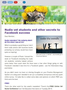 Nudie vet students and other secrets to Facebook success, Vetanswers Members Weekly eNewsletter, 24.10.2014