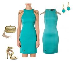 """""""PARTY DRESS, SANDALS - TURQUOISE, GOLD"""" by laliquemurano on Polyvore featuring ALDO, JudeFrances and Chanel"""