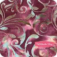 Blackberry Batiks Fuchsia Leaf Scroll Yardage <br/>SKU
