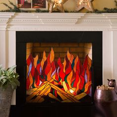 Stained Glass Roaring Fire Screen