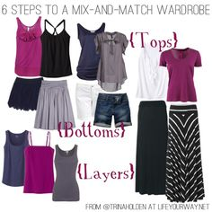 6 Steps to a Mix and Match Wardrobe > Life Your Way Capsule Wardrobe Mom, Build A Wardrobe, New Wardrobe, Summer Wardrobe, Simple Wardrobe, Travel Wardrobe, Wardrobe Ideas, Fashion Mode, Fashion Outfits