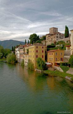 View from the Bridge of Bassano (Ponte vecchio or Ponte degli Alpini) - Bassano del grappa (Vicenza), Veneto, Italy
