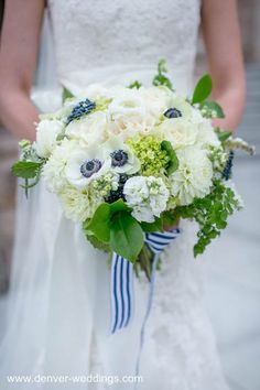 preppy wedding - white bride bouquet with touches of blue #wedding #bacheloretteandbride