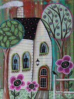Ivory Cottage art print by Karla Gerard. Our prints are produced on acid-free papers using archival inks to guarantee that they last a lifetime without fading or loss of color. All art prints include a 1 Karla Gerard, Art Fantaisiste, Cottage Art, Pintura Country, Arte Popular, Naive Art, Whimsical Art, Painting Inspiration, Painted Rocks
