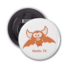 Orange Bat - Austin, TX Button Bottle Opener