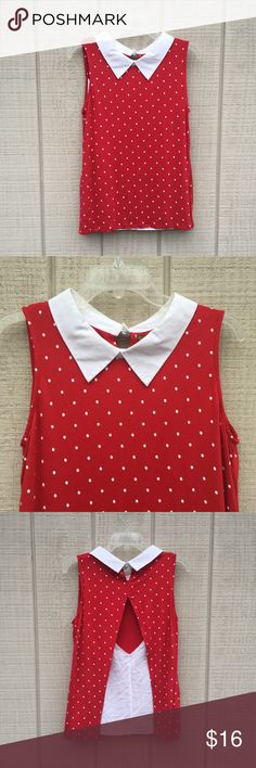 Belldini red & white Valentines sleeveless top, L This perfect-for-Valentines Belldini sleeveless top features white polka dots on a red background and a snappy white collar. Material Vs in the back to reveal a white panel. Material is 95% viscose, 5% spandex and is exceptionally soft and stretchy. Item is in great pre-owned condition with no tears - there is a small patch of slightly darker red on the back, highlighted in pic #5, but this blends in with the natural folds of the shirt when…