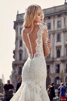 eddy k milano bridal 2017 sheer lace long sleeves deep plunging neckline heavily embellished bodice elegant mermaid wedding dress low back chapel train (md218) zbv