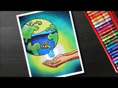 Oil Pastel Paintings, Oil Pastel Art, Save Water Poster Drawing, Poster On Save Water, Save Water Pictures, Save Earth Drawing, Water Sketch, Earth Day Posters, Drawing Scenery