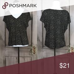 "Max Studio Black/Cream Flutter Sleeve Top Flutter sleeve print top on black and cream pull over head style. Size Large Bust 40"" Length 22"" 100% Polyester Machine Wash Cold Line Dry Pristine Condition. Max Studio Tops Blouses"