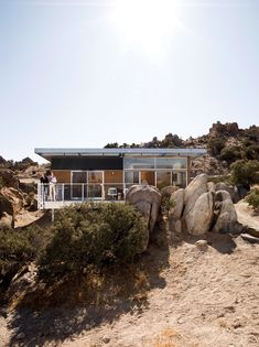 """The Blue Sky prototype house was built as a desert getaway for David McAdam and his partner Scott Smith. """"This house is the Prius of prefabs,"""" says McAdam, referring to a hybrid of another sort. Photo by Misha Gravenor. Read more: http://www.dwell.com/articles/The-Best-of-Modern-Prefab-Homes.html"""