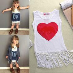 Toddler Girl Kids Sleeveless Tassel Tank Top Dress