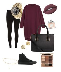"""Untitled #4"" by navpreet-ghataurhae on Polyvore featuring Monki, Dorothy Perkins, Converse, Rolex, Tory Burch, Stila, Lime Crime and Christian Dior"