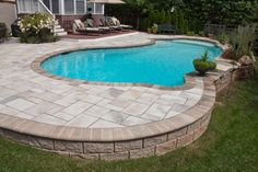 Discover 27 semi inground pool ideas for your inspiration. Browse photos of semi inground pools with deck. A collection of semi inground pool landscape ideas. Sloped Backyard, Backyard Pool Landscaping, Swimming Pools Backyard, Pool Decks, Landscaping Ideas, Lap Pools, Backyard House, Indoor Pools, Gunite Pool
