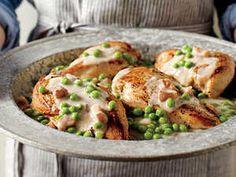 Chicken pancetta cream peas