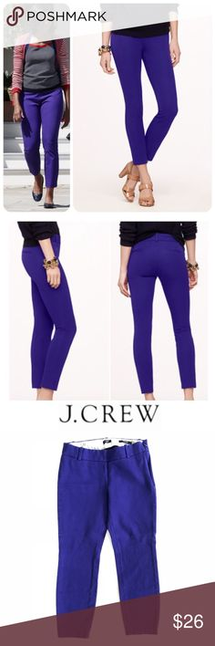 """J. Crew Purple Stretch Minnie Cropped Pants Size 0 Up for sale in good preowned condition J. Crew Purple Minnie Pants, Size 0. Check out my closet, bundle and give me your offer!  Measurements:  Waist: 13.5"""" Rise: 7.5"""" Inseam:  22.5"""" All measurements are approximate and taken flat in the front only.  Please be advised that color of the item might vary from screen to screen. J. Crew Pants"""