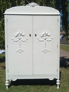 """Unique Applique's and Furnishings"": Vintage Shabby Chic Clothing Armoire"