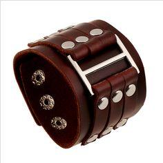 Men's Leather Bracelets Rock Punk Charms Cuff Bracelet Bangles Casual Jewelry