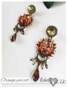 Long crystal earrings, bead embroidery fantasy earrings, orange pink, statement earrings, beaded dangle, chandelier earrings, dangle prom