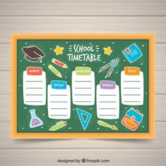 School timetable on the blackboard with drawings Free Vector Kids Planner, Daily Planner Printable, Space Classroom, School Timetable, Class Displays, School Clipart, Class Decoration, Little Learners, School Organization