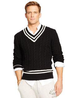 Cotton-Blend Cricket Sweater - V-Neck Jumpers - Ralph Lauren UK