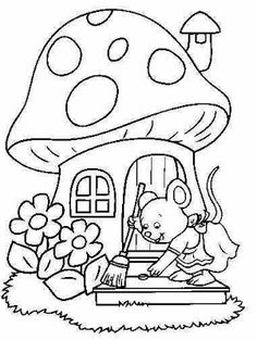 Making My Party Coloring: Coloring Pictures of Enchanted Garden! Spring Coloring Pages, Cute Coloring Pages, Adult Coloring Pages, Coloring Books, Fabric Painting, Painting & Drawing, Fairy House Crafts, Kindergarten Coloring Pages, Coloring Sheets For Kids